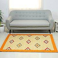 Wool dhurrie rug, 'Dancing Diamonds' (4x6) - Wool dhurrie rug