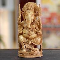 Wood sculpture, 'Blessed Ganesha I'