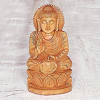 Wood sculpture, 'Peace from Buddha' - Wood sculpture
