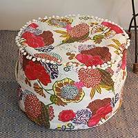 Cotton ottoman cover, 'Indian Dahlia' - Cotton ottoman cover