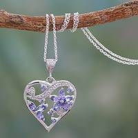 Tanzanite heart necklace, 'Mindful Love' - Tanzanite heart necklace
