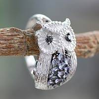 Tanzanite and spinel cocktail ring, 'Mystic Owl' - Tanzanite and spinel cocktail ring