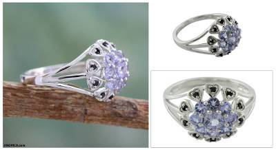 silver ring design for girl - Tanzanite and spinel flower ring