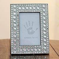 Bejeweled photo frame, 'Silver Glitz' (4x6) - Bejeweled photo frame