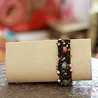 Beaded clutch handbag, 'Natural Glam' - Beaded clutch handbag