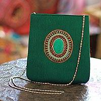 Beaded shoulder bag, 'Emerald Magic' - Beaded shoulder bag