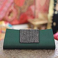 Beaded clutch evening bag, 'Emerald Allure' - Beaded clutch evening bag