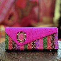 Beaded clutch handbag, 'Fuchsia Festival' - Beaded clutch handbag