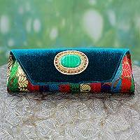 Beaded clutch handbag, 'Glamorous Turquoise' - Beaded clutch handbag
