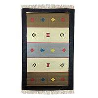 Cotton rug, 'Star Song' (4x6.5) - Cotton Dhurrie Rug from India (4x6.5)