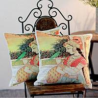 Cotton cushion covers, 'The Princess and the Parakeet' (pair) - Cotton cushion covers