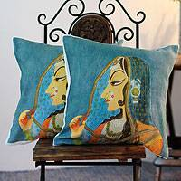 Cotton cushion covers, 'Mughal Dancer' (pair) - Cotton cushion covers