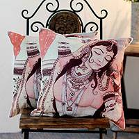 Cotton cushion covers, 'Majestic Dancer' (pair) - Cotton cushion covers