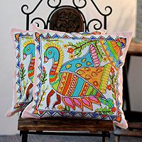Cotton cushion covers, 'Madhubani Peacock' (pair) - Cotton cushion covers