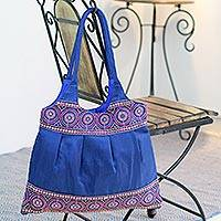 Shoulder bag, 'Sapphire Mandalas' - Shoulder bag