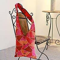 Patchwork shoulder bag, 'Festive Triangulations' - Shoulder Bag Hand-embroidered Patchwork Artisan Crafted