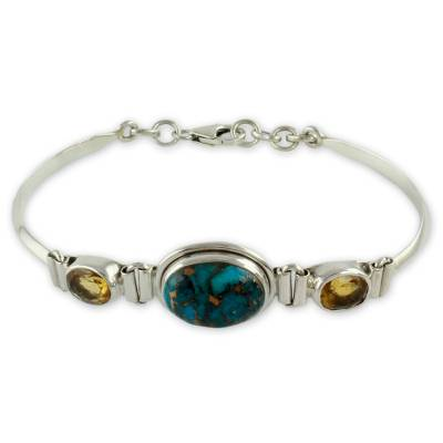 Artisan Crafted Silver Bracelet with Citrine India Jewelry
