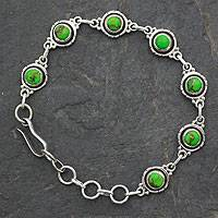 Sterling silver link bracelet, 'Green with Beauty' - Sterling Silver and Comp Turquoise Bracelet from India