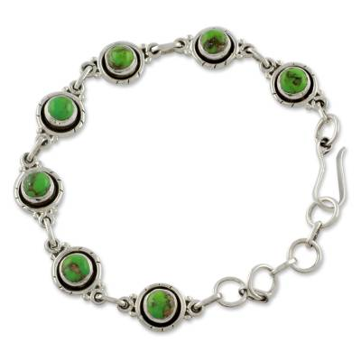 Sterling Silver and Comp Turquoise Bracelet from India