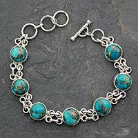Sterling silver link bracelet, 'Sky Paths' - Turquoise and Silver Beaded Bracelet