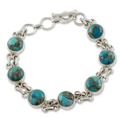 Silver and Comp Turquoise Bracelet from India Jewelry