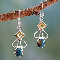Citrine dangle earrings, 'Bollywood Blue' - Citrine Comp Turquoise and Silver Artisan Crafted Earrings