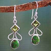 Peridot dangle earrings, 'Bollywood Green' - Peridot Comp Turquoise and Silver Artisan Crafted Earrings