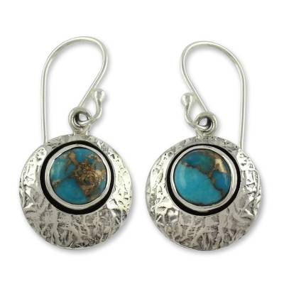 Sterling Silver and Comp Turquoise Artisan Crafted Earrings