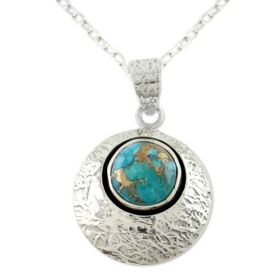 Sterling Silver and Comp Turquoise Artisan Crafted Necklace