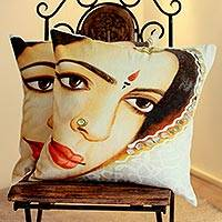 Cotton cushion covers, 'Rajasthan Belle' (pair) - Cotton Cushion Covers from India (pair)