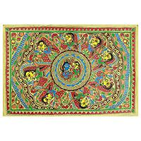 Madhubani painting, 'Krishna's Serenade' - Traditional Hinduism Madhubani Folk Art Painting
