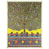 Madhubani painting, 'One with Nature I' - Traditional Madhubani Folk Art Painting