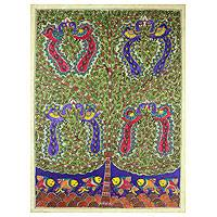 Madhubani painting, 'One with Nature III' - Authentic Madhubani Painting Tree of Life