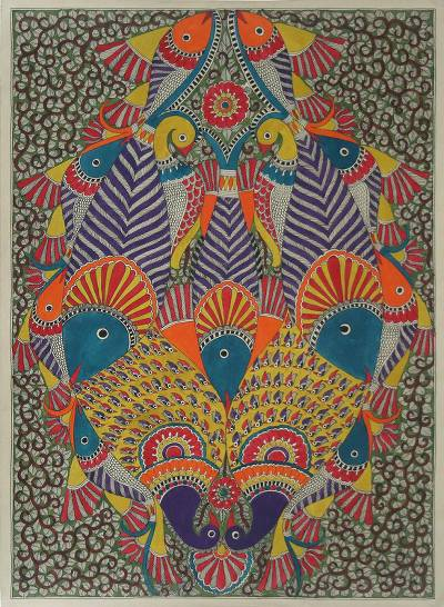 Authentic Madhubani Painting Fish and Peacocks