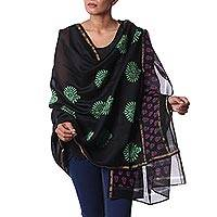 Cotton and silk shawl, 'Midnight Jewels' - Black Silk and Cotton Block Print Shawl