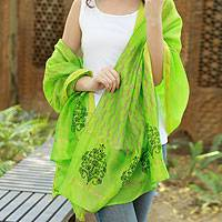 Cotton and silk shawl, 'Lime Garden' - Black Silk and Cotton Block Print Shawl