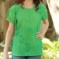 Cotton blouse, 'Feminine Lime' - Hand Crafted Women's Paisley Cotton Embroidered Blouse Top