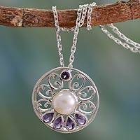 Cultured pearl and amethyst necklace, 'Bihar Blossom' - Artisan Crafted Pearl and Amethyst Necklace