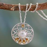 Cultured pearl and citrine necklace, 'Bihar Blossom'