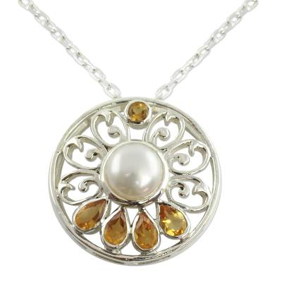 Handcrafted Pearl and Citrine Necklace