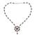 Garnet Y necklace, 'Crimson Allure' - Garnet Floral Y Necklace from India (image 2a) thumbail