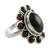 Garnet cocktail ring, 'Scarlet Petals' - Floral Jewelry Sterling Silver and Garnet Ring (image 2a) thumbail