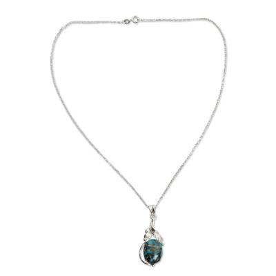 Composite Turquoise Jewelry in a Silver Necklace