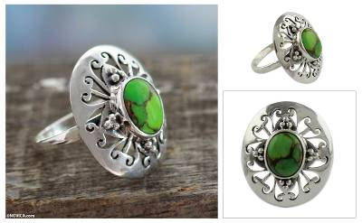 silver ring ceremony high school - Sterling Silver Cocktail Ring with Green Gem Jewelry