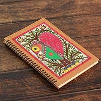 Madhubani journal, 'Bihar Lovebird' - Handmade Madhubani Painting Journal