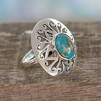 Sterling silver cocktail ring, 'Jali Blue' - Sterling Silver Cocktail Ring with Blue Gem Jewelry