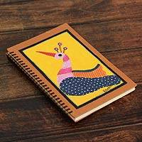 Journal, 'Yellow Gond Peacock' - Handmade India Tribal Folk Art Yellow Peacock Journal
