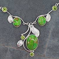Peridot Y-necklace, 'Dew Blossom' - Green Turquoise and Peridot Handmade Necklace from India