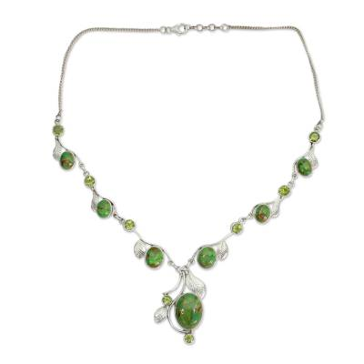 Green Turquoise and Peridot Handmade Necklace from India
