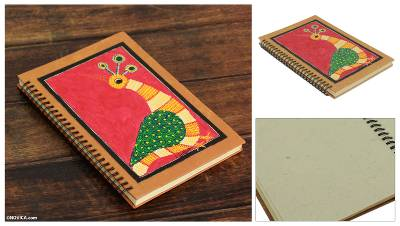Journal, 'Red Gond Peacock' - Handmade India Tribal Folk Art Journal